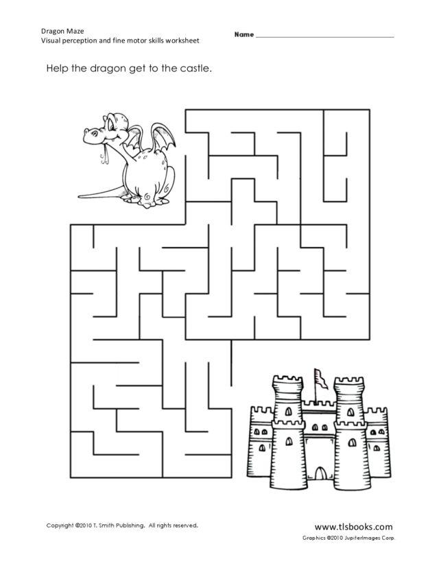 dragon maze visual perception and fine motor skills worksheet for kindergarten 2nd grade. Black Bedroom Furniture Sets. Home Design Ideas