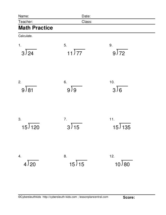 math practice division without remainders 12 worksheet. Black Bedroom Furniture Sets. Home Design Ideas