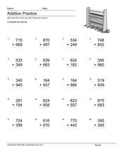 Addition Practice: Adding 3-Digit Numbers #4 Worksheet