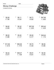 Money Challenge #4: Addition Worksheet