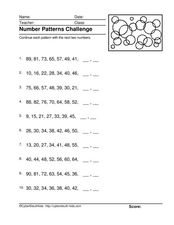 Number Pattern Challenge Worksheet