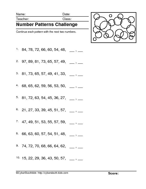number patterns challenge 4 worksheet for 4th 5th grade lesson planet. Black Bedroom Furniture Sets. Home Design Ideas