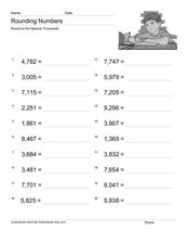Rounding: Nearest Thousands Worksheet