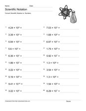 Convert Scientific Notation to Numbers 5 Worksheet