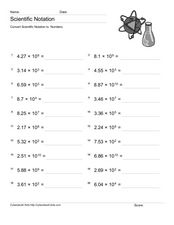 Convert Scientific Notation to Numbers 1 Worksheet