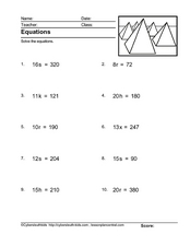 Equations (Solve for a Variable) Worksheet