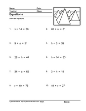 Equations: Simple One Step- Isolate the Variable Worksheet
