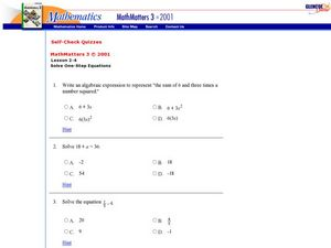 Solve: One Step Equations Worksheet