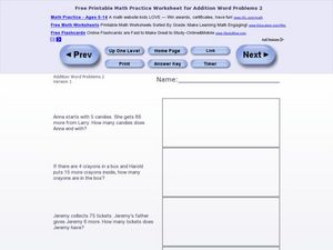 Addition Word Problems 2, Version 1 Worksheet