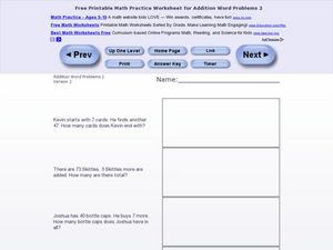 Addition Word Problems 2, Version 2 Worksheet