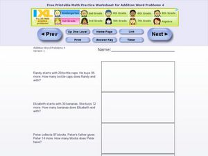 Addition Word Problems 4, Version 1 Worksheet