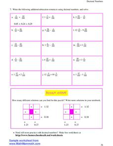 fraction number sentences lesson plans worksheets. Black Bedroom Furniture Sets. Home Design Ideas