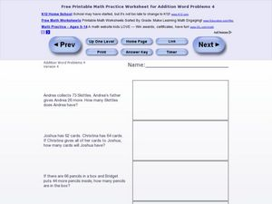 Addition Word Problems 4, Version 4 Worksheet