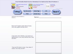 Subtraction Word Problems 2 Worksheet