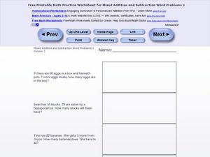 Mixed Addition/Subtraction Word Problems One -Version 1 Worksheet