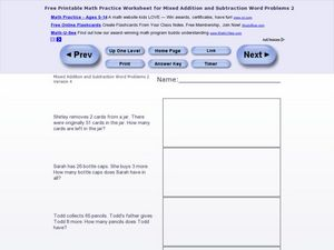 Mixed Addition and Subtraction Word Problems 2, Version 4 Worksheet