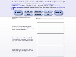 Addition Word Problems-Unused Facts #5 Worksheet