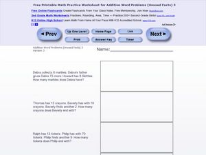 Addition Word Problems-Unused Facts #10 Worksheet