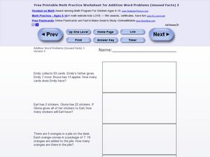 Addition Word Problems-Unused Facts #11 Worksheet