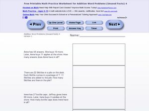 Addition Word Problems-Unused Facts #12 Worksheet