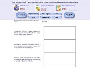 Mixed Addition and Subtraction Word Problems One- Version 2 Worksheet