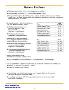Decimal Problems Worksheet
