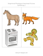 Gingerbread Phonological Awareness Pictures: Syllables Worksheet