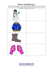Winter Syllables pg. 1 Worksheet
