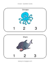 Ocean Syllable Cards Worksheet