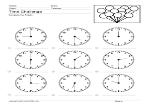 Time Challenge: Recording Times on Clocks 2 Worksheet