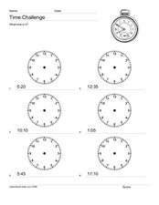 Time Challenge: Recording Times on Clocks 5 Worksheet