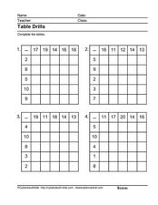 Table Drills: Subtraction 2 Worksheet
