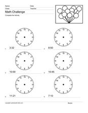 Math Challenge: Telling Time Worksheet