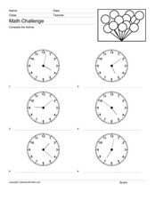 Math Challenge: Telling Time #2 Worksheet