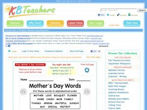Mother's Day Words Worksheet