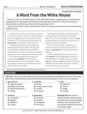 A Word From the White House Worksheet