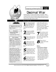 Decimal War Lesson Plan