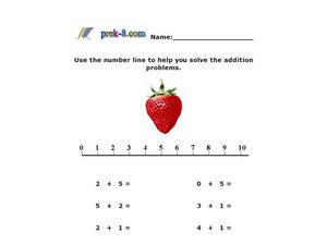 Addition: 0 to 5 With a Number Line Worksheet