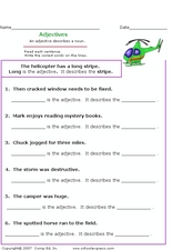 Adjectives: Identifying in Sentences Worksheet