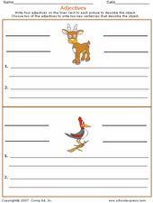 Adjectives: Describe a Reindeer and a Woodpecker Worksheet