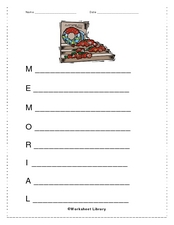 Memorial Day Acrostic Poem Worksheet