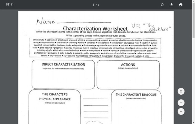 Indirect Characterization Lesson Plans & Worksheets
