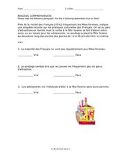 French: Reading Comprehension Worksheet