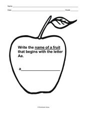 Name of a Fruit That Begins With Letter A Worksheet