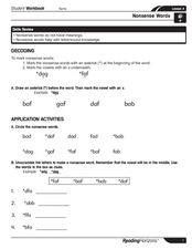 Nonsense Words Worksheet