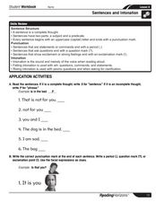Sentence or Phrase Worksheet