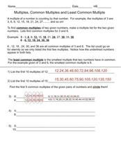 Multiples, Common Multiples, and Least Common Multiples Lesson Plan