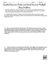 Greatest Common Factor and Least Common Multiple Story Problems Lesson Plan