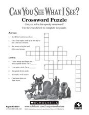 Scary Scary Night Crossword Puzzle Worksheet
