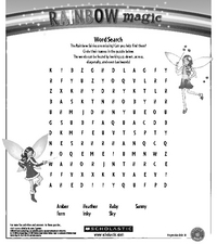 Rainbow Magic Wordsearch Worksheet